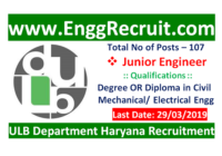 ULB Haryana Recruitment