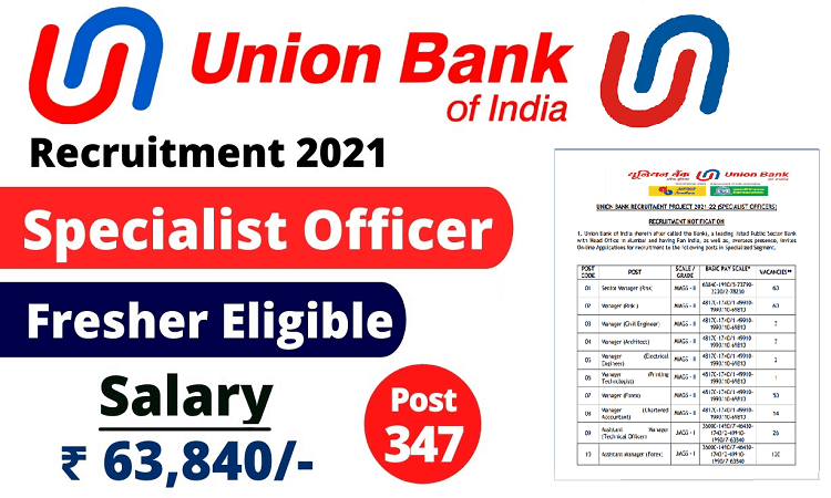 Apply Online for Union Bank of India Recruitment Portal 2021 - 22 Notification for Specialist Officer (Fresh Graduates), Eligibility, Process, Application Form, Advertisement pdf, Syllabus, Vacancy